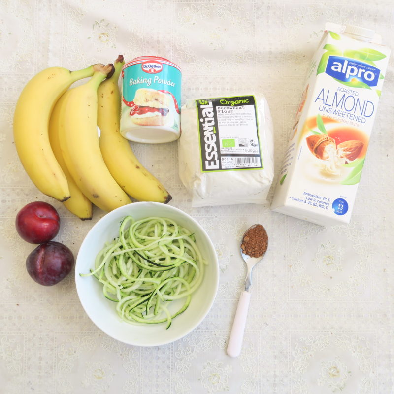 ingredients for gluten-free banana and zucchini cake
