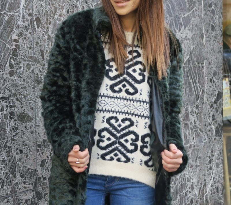 Kaleidoscope green fury Christmas Winter coat