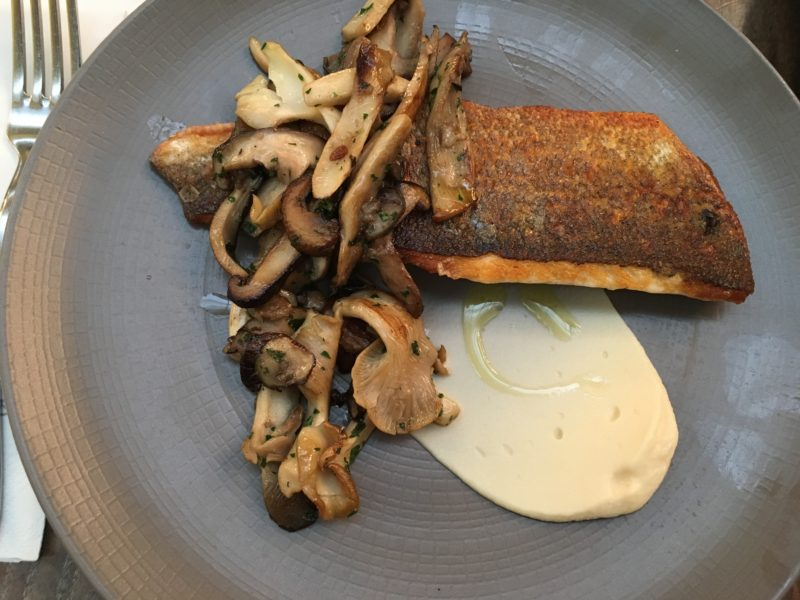 Sunday brunch with sea bass and mushrooms