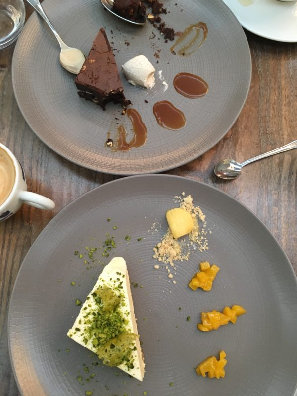 desert of cheesecake and chocolate brownie for Sunday brunch
