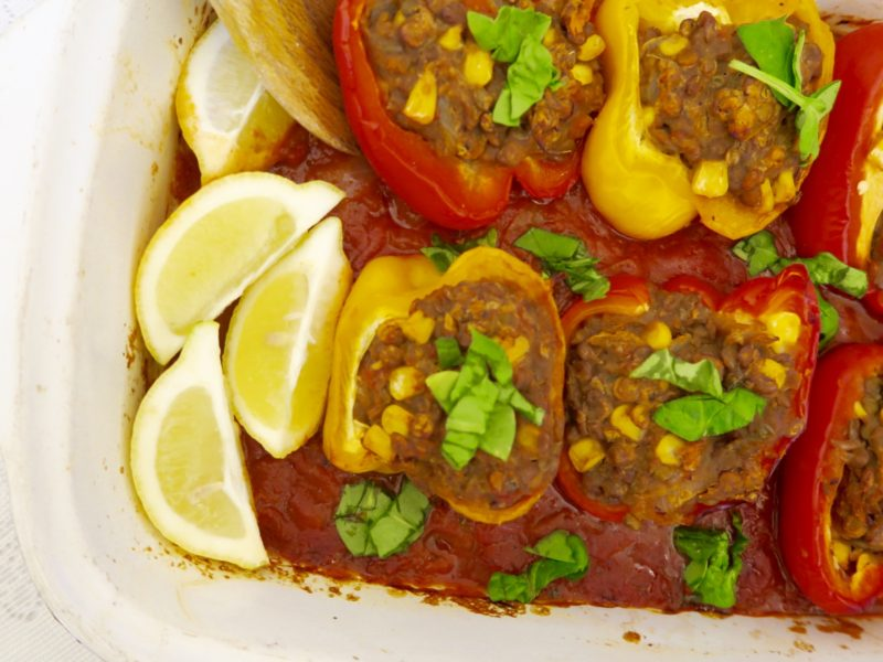 minced stuffed peppers for vegan eaters