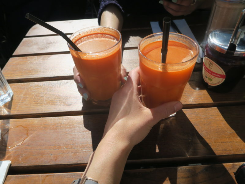 Carrot and ginger juice. Brunch at Le Pain Quotidien