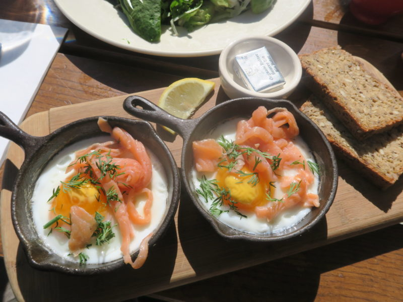 salmon and eggs Brunch at Le Pain Quotidien