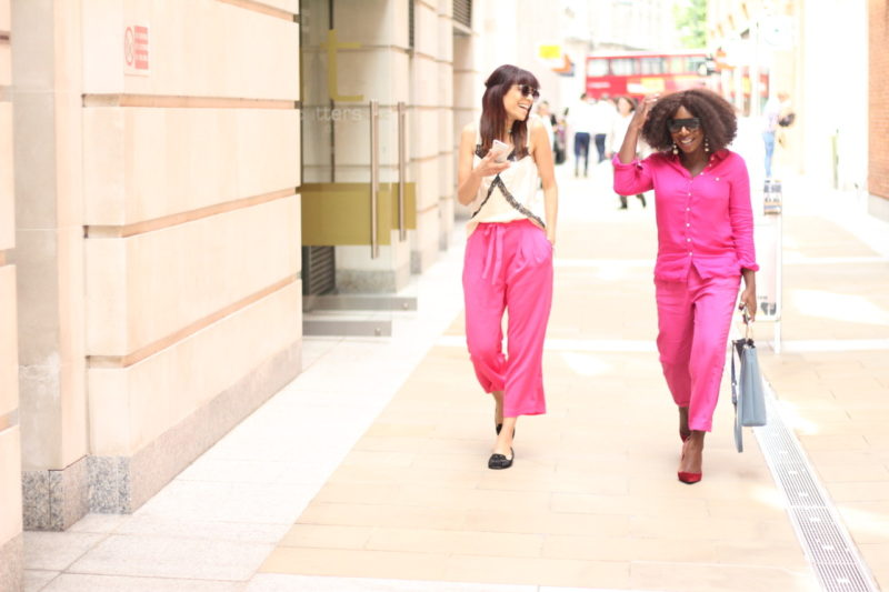 Summer fashion trend with fuschia pants