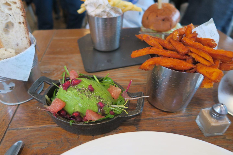 Sweet potato fries at Aubain for lunch on High Street Kensington